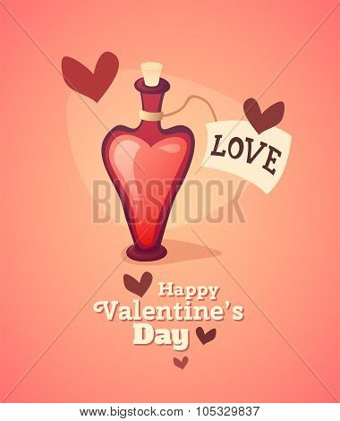Cartoon love potion icon heart shaped with letter label