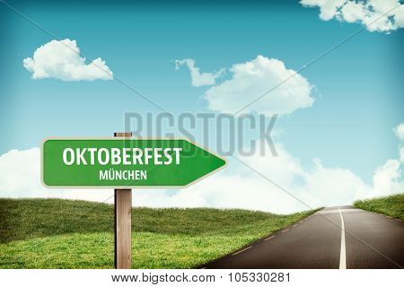 Oktoberfest munchen against arrow sign on road
