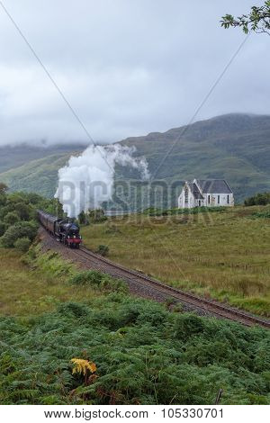 The Jacobite steam travells through Scottish Highland