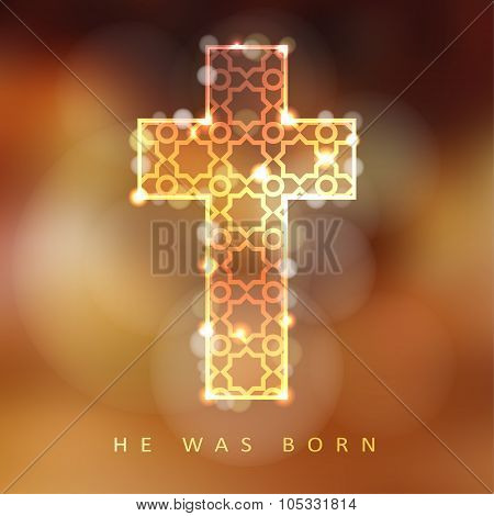Christmas Background With Illuminated Ornamental Cross, Christian Concept, Vector
