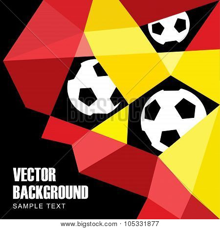 Polygon Soccer Football Background With Balls In German And Belgian Flag Colors