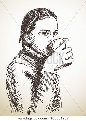 Sketch of teenage girl drinking from mug, Hand drawn illustration