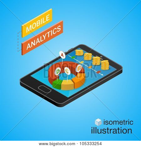 3D Smartphone With Graphs In The Isometric Projection. Mobile Analytics Concept. Modern Infographic