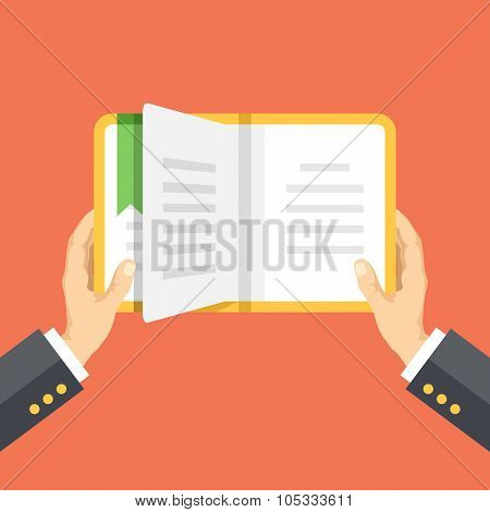 Hands holding the book. Reading concept. Vector flat illustration