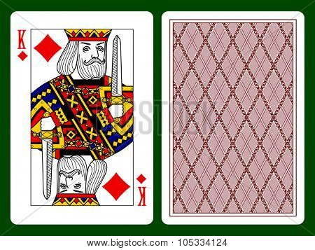 King of Diamonds playing card and the backside background. Original design. Vector illustration