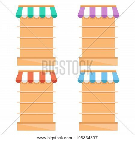 Grocery store fixtures and shelving flat illustration. Empty supermarket shelves