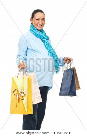 Laughing Pregnant At Shopping