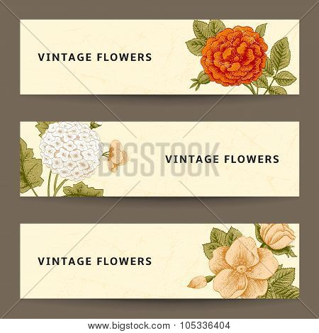 Set of horizontal banners with vintage flowers.
