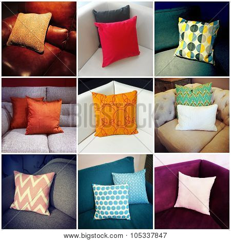 Colorful Cushions, Interior Design Collage