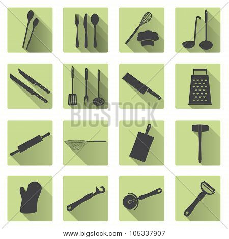 Home Kitchen Cooking Utensils Flat Shadow Icons Eps10