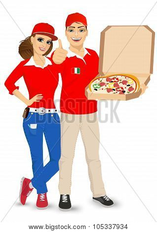 pizza delivery guy and girl in red uniform