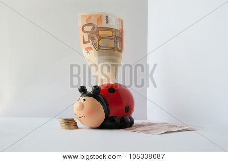 Piggy Bank For Money In Form Of Red Ladybug