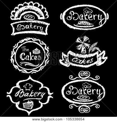 Set Of Vintage Hand Drawing Chalk Style Bakery Logo Badges And L