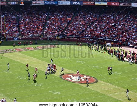 49Ers Quarterback Sets To Throw Football
