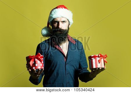 New Year Man With Presents