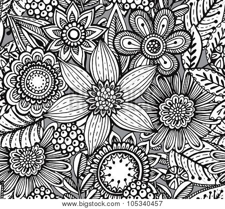 Vector Seamless Floral Pattern With Fancy Flowers.