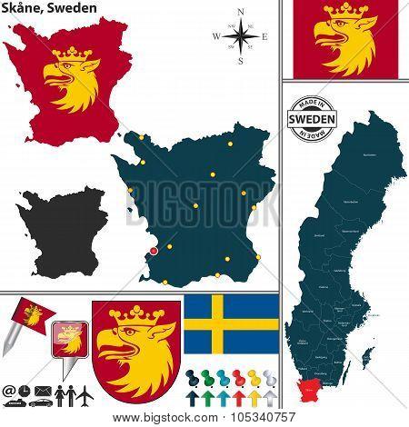 Map Of Skane, Sweden