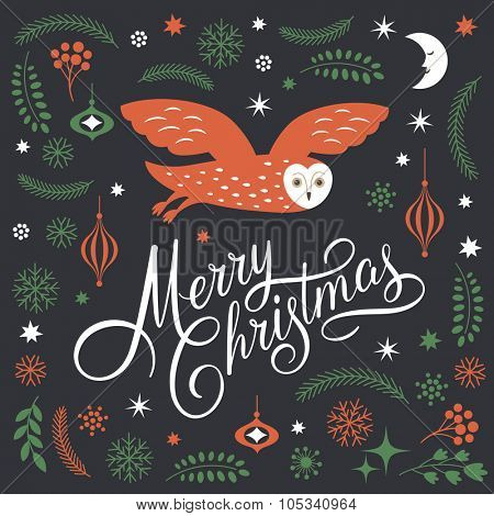 Greeting Christmas card, Merry Christmas Lettering, Christmas Illustration