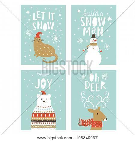 set of  Greeting Christmas card