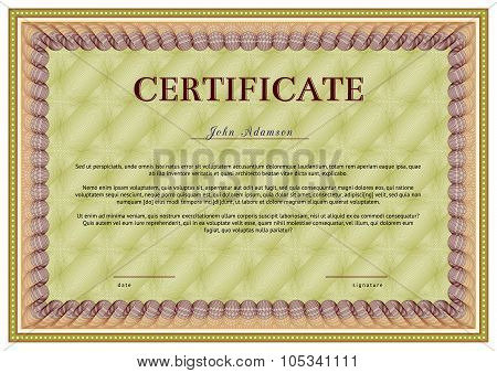 Horizontal vector certificate template with guilloche elements.
