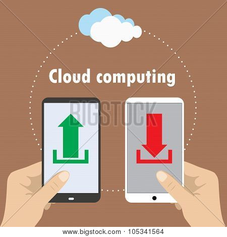 Hand Holding Smartphone, Cloud Computing ,