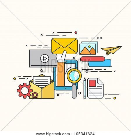 Vector modern flat design of email marketing