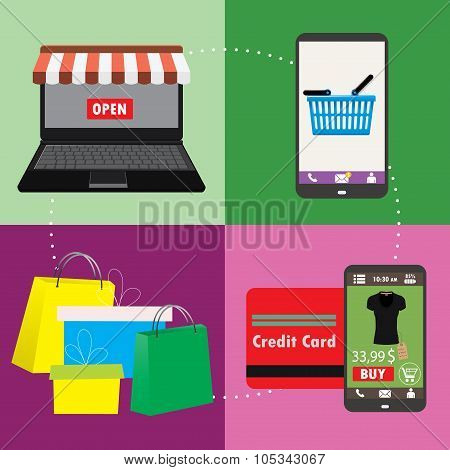 Business Concept  Set Of Online Shopping Internet Purchase