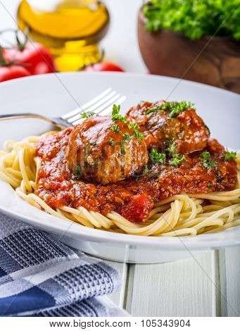 Meat balls. Italian and Mediterranean cuisine. Meat balls with spaghetti and tomato sauce. tradition