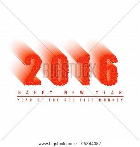 2016 Happy New Year Text Background Of Fiery Ball, Numbers Of Moving Fiery Circles, Mockup Card, Pos