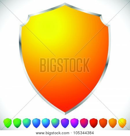 Vector Shields In Spectrum Colors With Metallic Frame And Blank Space. Protection, Security Concepts