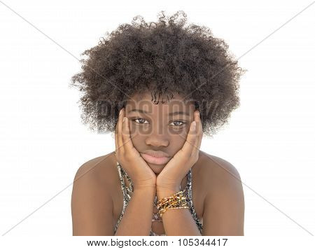 Moody girl holding her head in her hands, isolated