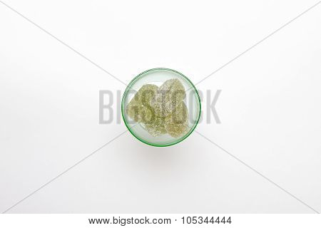Green Marmalade In Green Wineglass On White