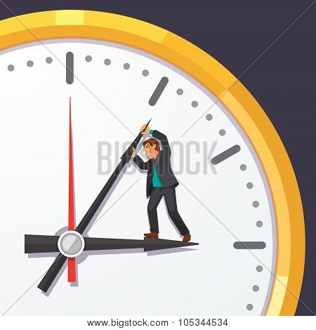 Man in business suit trying to stop time
