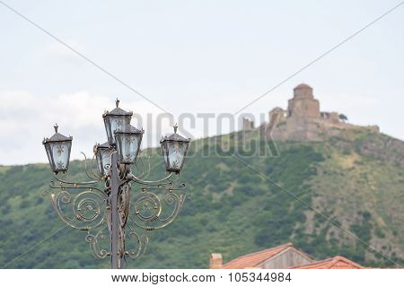 Street Lamp With Jvari Monastery At The Background