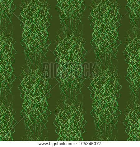 Seamless Pattern Abstract Wavy Lines On A Green Background