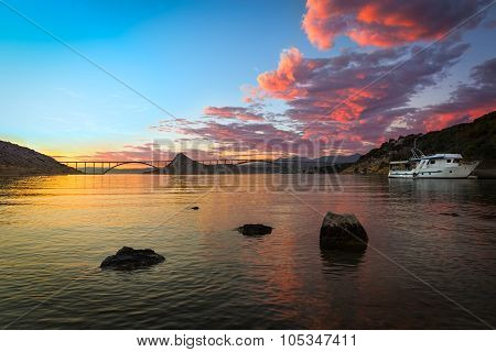 Krk Bridge At Dusk With Colorful Sky, Croatia