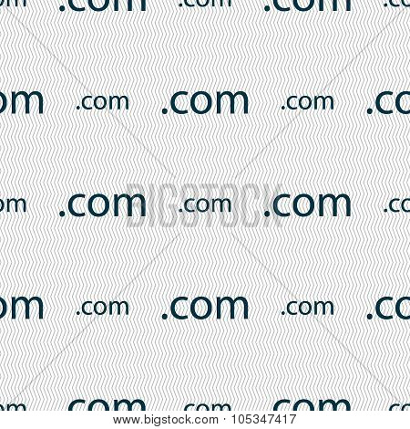 Domain Com Sign Icon. Top-level Internet Domain Symbol. Seamless Abstract Background With Geometric