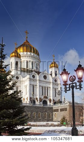 Cathedral of Christ the Savior and nice lanterns Moscow Russia