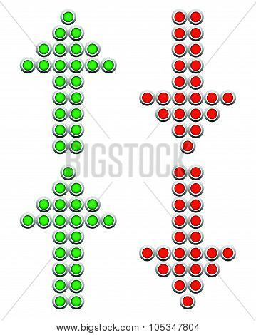Set Of Dotted Up And Down Arrows. Red And Green Arrows Pointing Upward, Downward. Vector.