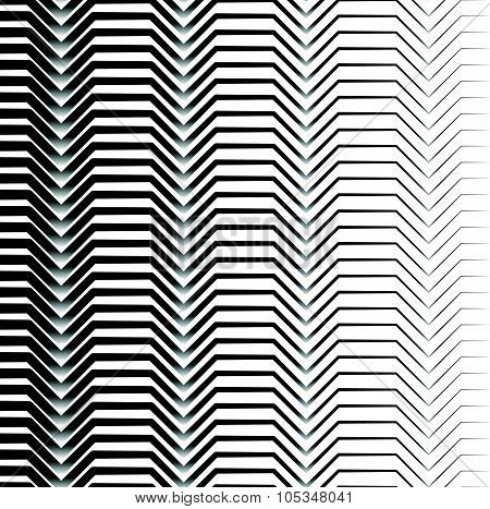 Black And White Horizontal Zigzag Lines Abstract Pattern. Seamlessly Repeatable. Vector.