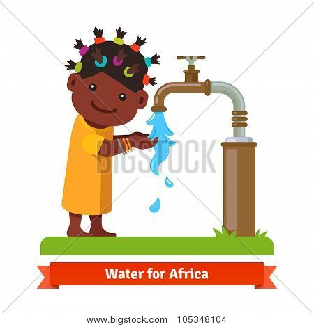 Girl washing hands. Water shortage symbol