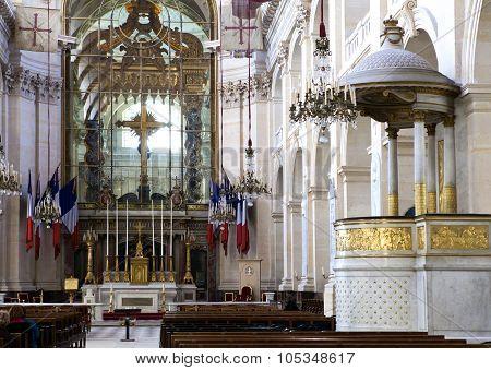 PARIS FRANCE - MARCH 14 2012: Interiors of Chapel of Saint Louis des Invalides in Paris on March 14