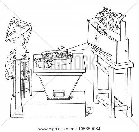 Primitive basin pulling the raw, vintage engraved illustration. Industrial encyclopedia E.-O. Lami - 1875.
