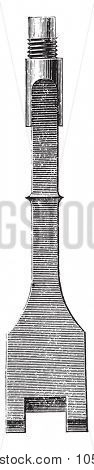 Drill, vintage engraved illustration. Industrial encyclopedia E.-O. Lami - 1875.