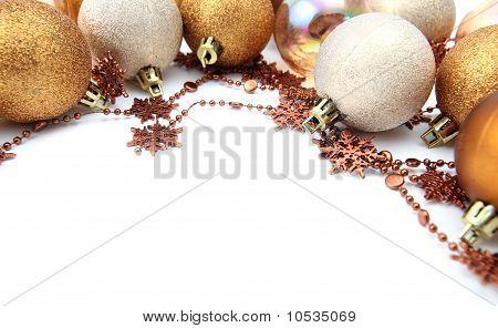 Gold Christmas ornament border