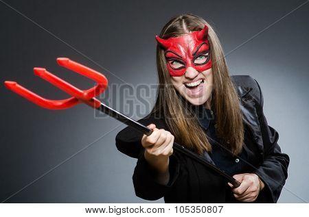 Funny devil in halloween concept