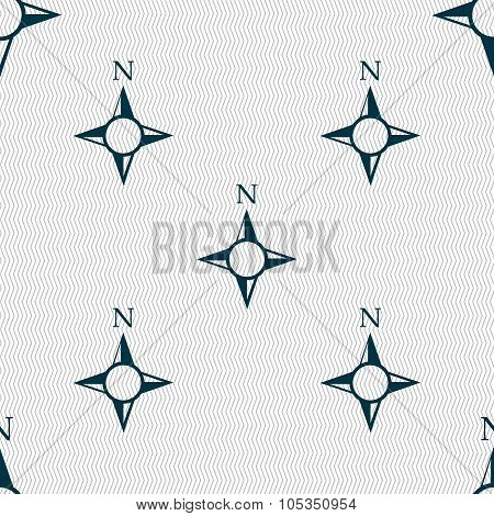 Compass Sign Icon. Windrose Navigation Symbol. Seamless Abstract Background With Geometric Shapes.