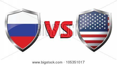 Russia Vs Usa Flag Icons Theme