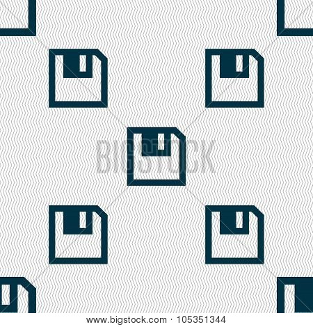 Floppy Icon. Flat Modern Design. Seamless Abstract Background With Geometric Shapes.