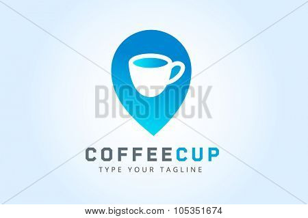 Vector coffee cup logo template. Business coffee, coffee break, coffee shop position, food and restaurant. Coffee shop icon, cafe, cup of tea. Coffee cup logo isolated. Coffee icon. Coffee logo